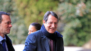 Nicos Anastasiades, président de la République de Chypre à Genève, pour les négociations de réunification de Chypre aux Nations unies, le 11 janvier 2017.