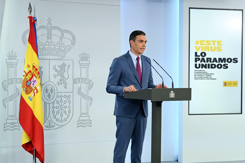 El presidente del gobierno español, Pedro Sánchez, en el Palacio de La Moncloa, en Madrid, el 10 de julio de 2021