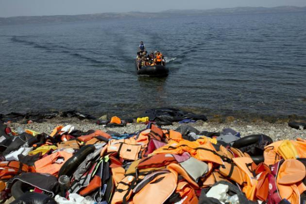 Migrants arriving at the Greek island of Lesbos