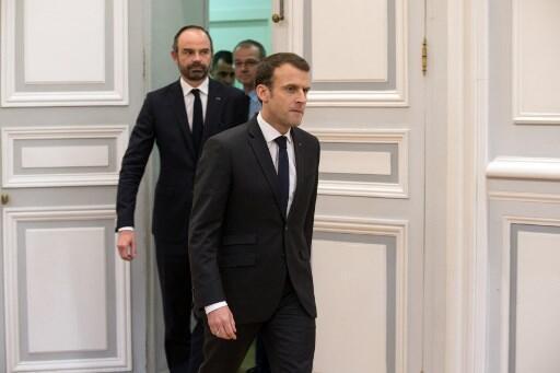 O Presidente Emmanuel Macron e o Primeiro-ministro Edouard Philippe.Paris.23 de Março 2018