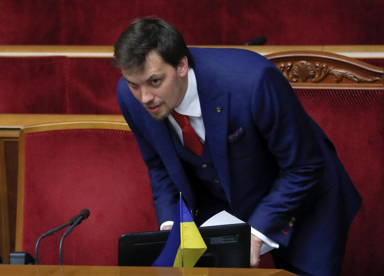 Премьер-министр Алексей Гончарук сразу после голосования в Раде. 29.08.2019