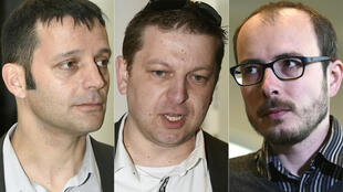 This combination of pictures created on April 26, 2016 shows (L to R) French journalist Edouard Perrin, former employees at services firm PricewaterhouseCoopers (PwC), Raphael Halet and Antoine Deltour, at the courthouse in Luxembourg,