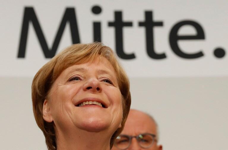 Angela Merkel a sorrir aquando do anúncio dos resultados. 24 de Setembro de 2017.