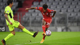 France international Kingsley Coman (right) scored twice in Bayern Munich's 4-0 win over Atletico Madrid.