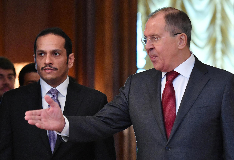 Ministan Harkokin Wajen Qatar Mohammed bin Abdulrahman bin Jassim Al-Thani tare da  Serguei Lavrov a birnin Moscow na Rasha