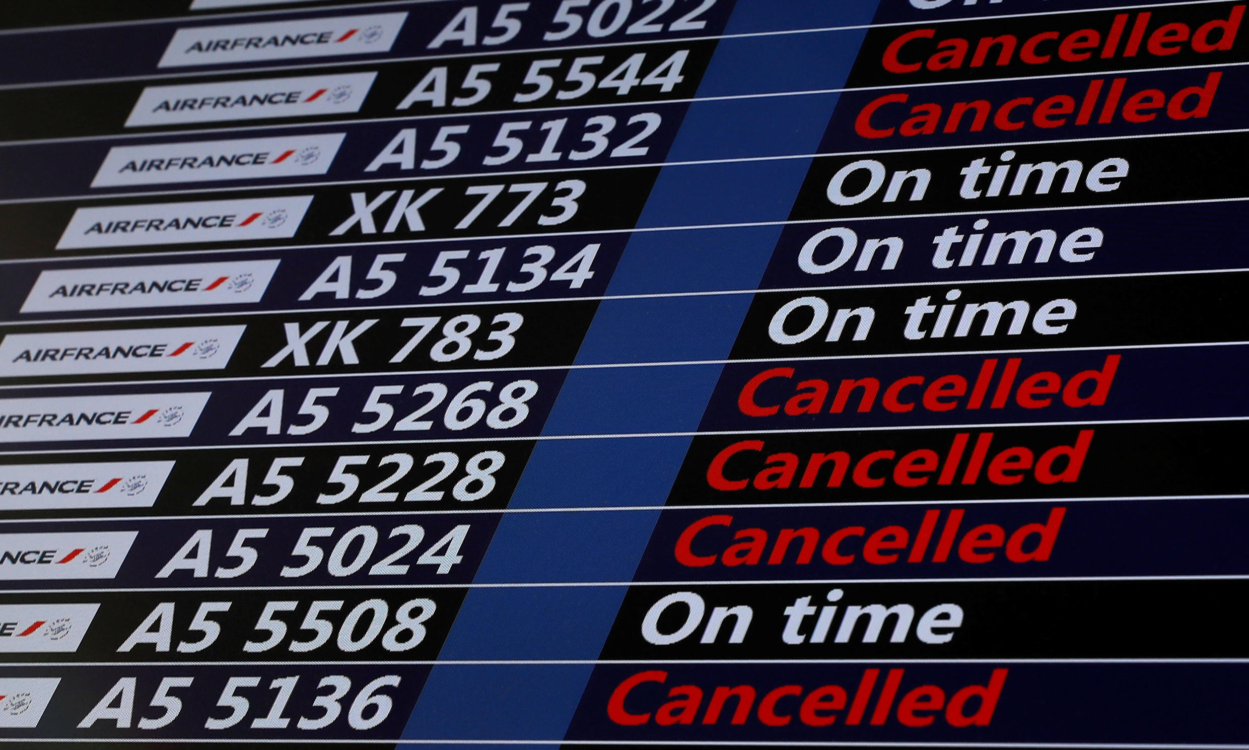 A flight departure screen at Orly airport during one of last month's strikes
