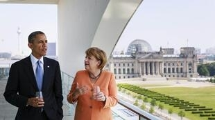Barack Obama et Angela Merkel, le 19 juin 2013 à la chancellerie de Berlin.