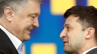 Петр Порошенко и Владимир Зеленский на дебатах 19 апреля 2019