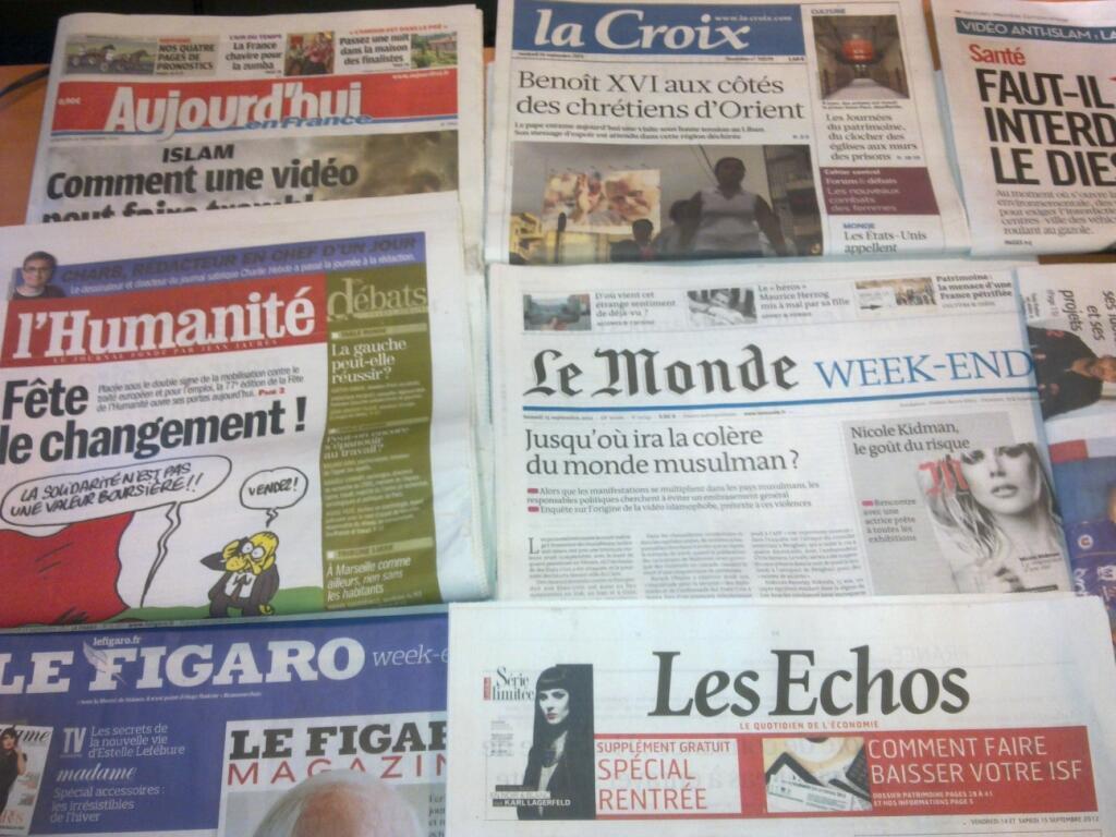 Diários franceses   14/09/2012
