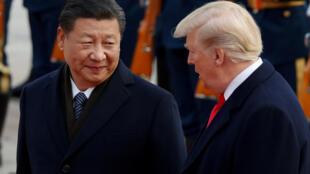 Chủ tịch Trung Quốc Tập Cận Bình (T) đón tiếp tổng thống Mỹ  Donald Trump, Bắc Kinh, ngày 09/11/2017 REUTERS/Damir Sagolj/File Photo