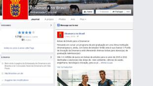 Nota publicada no Facebook da embaixada da Dinamarca no Brasil que destacava a facilidade para os jovens estrangeiros obterem bolsas de estudo no país.