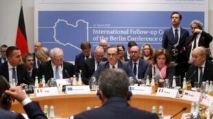 Ngoại trưởng Đức Heiko Maas (ngồi giữa) chủ trì cuộc họp các Ngoại trưởng tại Diễn đàn An ninh Munich ngày 16/02/2020.