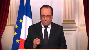 2015年12月31日,法国总统奥朗德发表新年电视讲话。