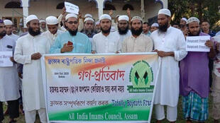 All India Imams Council Assam_protests against French President Emmanuel Macron 31 Oct 2020_Credit Murali Krishnan