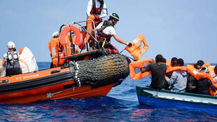 A rescue operation by Aquarius. The ship has saved the lives of over 30,000 migrants over the last two years.