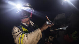 A member of the Bathopele group, in one of the South African mines being sold to Sibanye Gold, Runstenburg, last June.
