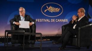 Thierry Frémaux, le délégué général, et Pierre Lescure, le président du Festival de Cannes, lors de la présentation de la Sélection officielle 2020, le 3 juin 2020.