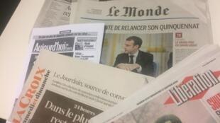 Primeiras páginas dos jornais franceses de 14 de janeiro de 2019