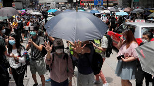 2020年5月27日 香港民众再次上街示威抗议。立法院当日二读审议国歌法。