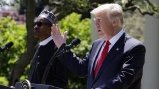 Shugaban Amurka Donald Trump yayin taron manema labarai da takwaransa ba Najeriya Muhammadu Buhari a fadar White House. 30/4/2018