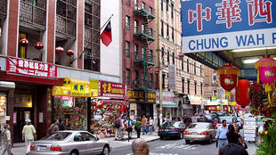 Mott Street in New York City, the traditional center of Chinatown.