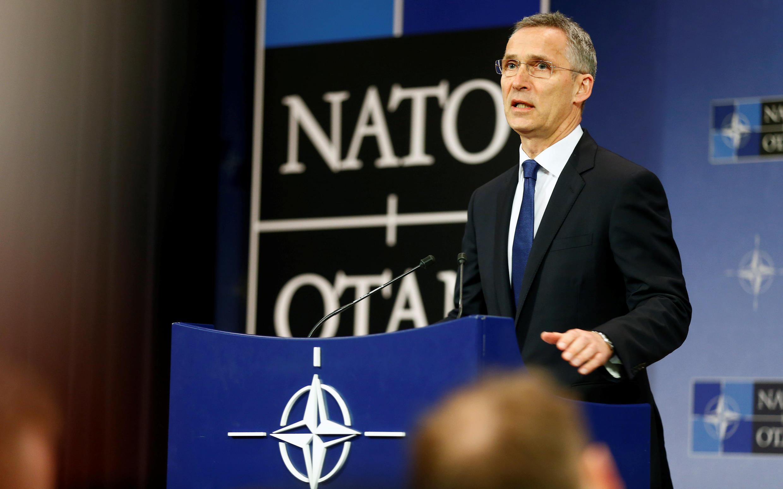 Katibu Mkuu wa NATO Jens Stoltenberg Mei,24 2017, Brussels.