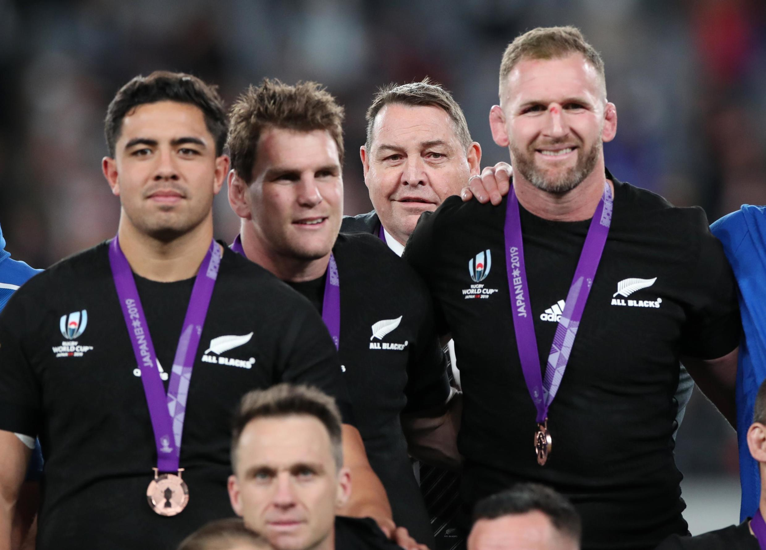 New Zealand head coach Steve Hansen and the All Blacks celebrate their bronze medals at the Rugby World Cup, Tokyo, Japan, 1 November 2019.