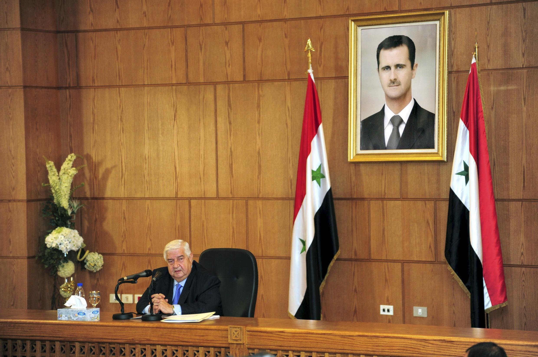 O ministro sírio das Relações Exteriores, Walid Mouallem, durante coletiva de imprensa.