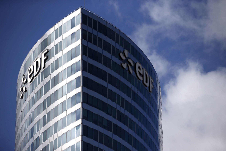 EDF's logo shines over Paris's La Défense business district