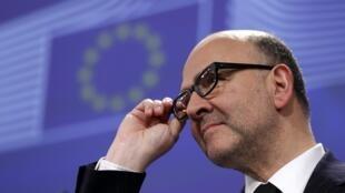 Pierre Moscovici, commissaire européen aux Affaires économiques, le 25 février 2015, à Bruxelles.