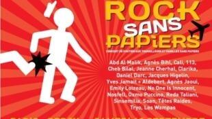 Detalle del cartel del concierto Rock sans papiers.