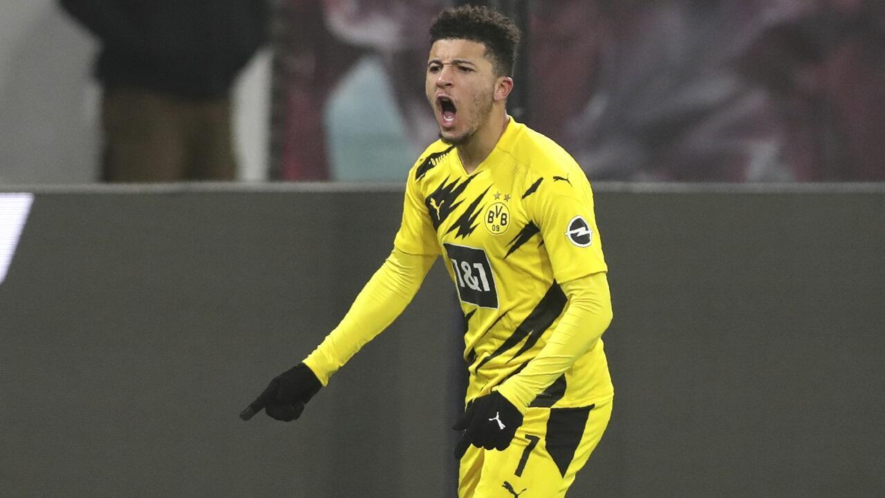 L'ailier anglais Jadon Sancho, sous le maillot du Borussia Dortmund, le 9 janvier 2021.