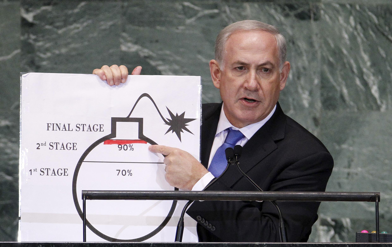 Le Premier ministre israélien, Benyamin Netanyahu, lors d'un discours contre un éventuel accord avec l'Iran en septembre 2012 aux Nations unies.