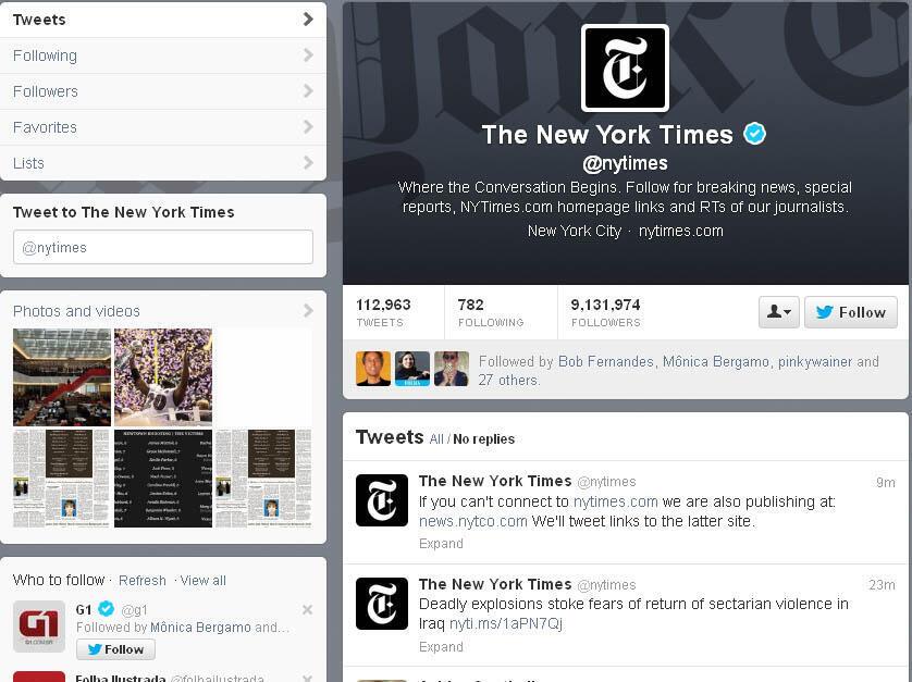 Post no twitter do jornal New York Times avisa que o site está fora do ar.