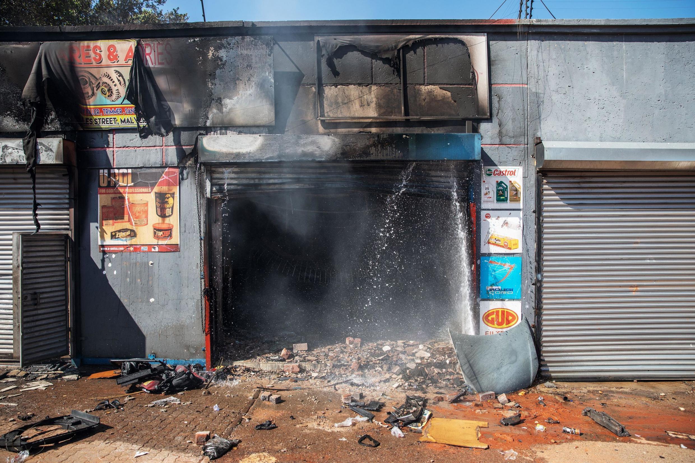 Loja destruída em Joanesburgo. 9 de Setembro de 2019.