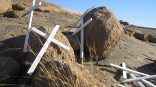 La colline numéro 2 à Marikana. C'est là que 34 mineurs en grève illégale ont été abattus par la police en août 2012.