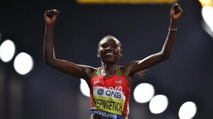 Ruth Chepngetich won the first gold medal of the 2019 athletics world championships in the women's marathon.