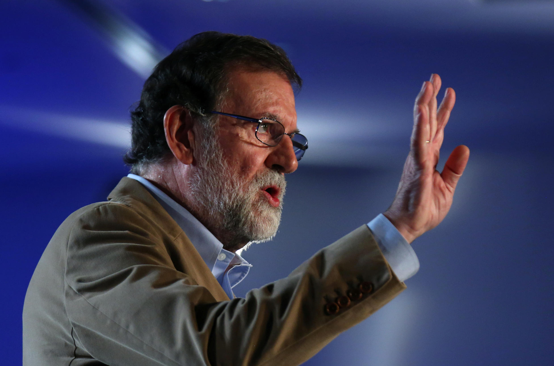 Премьер-министр Испании на митинге консервативной Народной партии в Барселоне, 12 ноября 2017 г.
