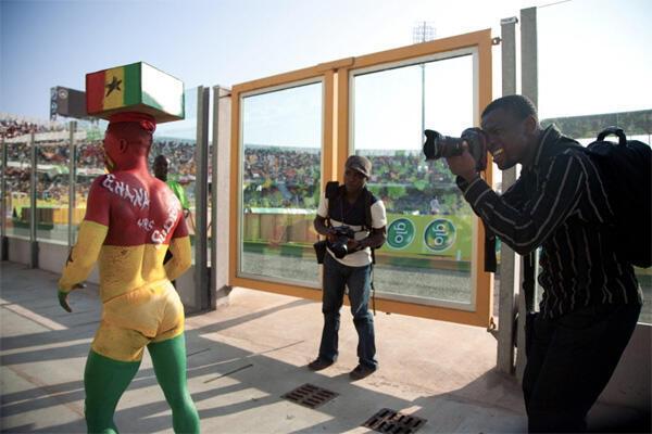 Twenty Ten 'Allstar' journalists zoom in on one of the supporters of Ghana's Black Stars