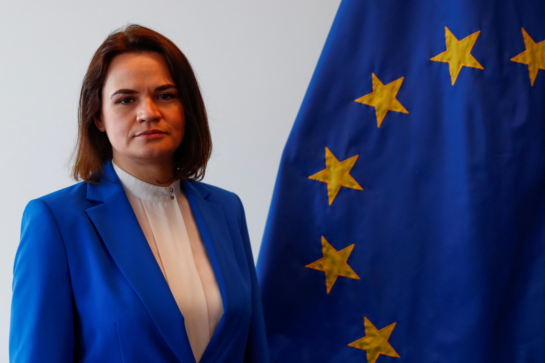 Sviatlana Tsikhanouskaya, le 21 juin 2021, lors d'une rencontre avec les 27 ministres des Affaires étrangères de l'Union européenne au Luxembourg.