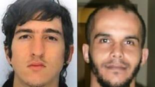 Foto dos dois supeitos Clément Baur (esq.) e Mahiedine Merabet (direita) detidos em 18/04/17