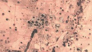 Image satellite du village de Farabougou, dans le centre du Mali.