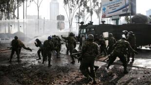 Nairobi le 17 novembre 2017, lors des heurts entre forces de l'ordre et partisans de Raila Odinga.