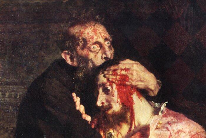 """Фрагмент картины И.Репина. """"Иван Грозный убивает своего сына""""."""