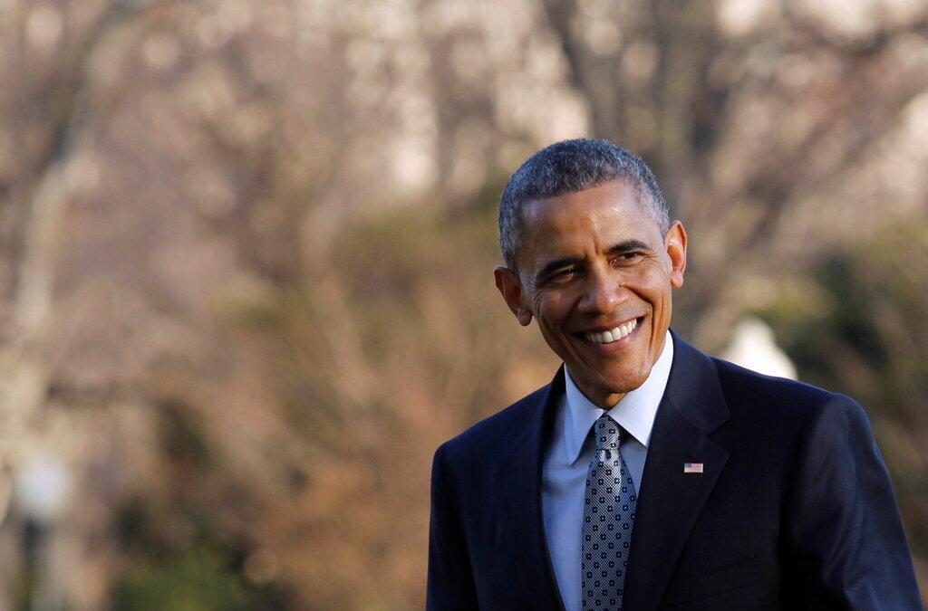 美国总统奥巴马在白宫南草坪2015年3月18日。