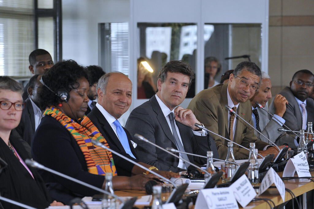 Jacqueline Mugo, Business Africa, Laurent Fabius, French Foreign Minister, Arnaud Montebourg, French Economy Minister and Lionel Zinsou, PAI Partners (from L to R). 15 July 2014
