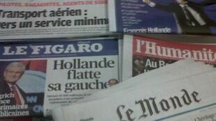 Capas dos diários franceses do dia  23 de Janeiro