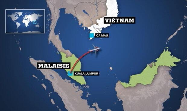 Carte de la zone où a disparu le vol de la Malaysia Airlines.