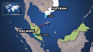 Mapa do local onde o avião da Malaysian Airlines teria desaparecido.