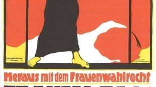 Detalle de un afiche alemán por el Día de la Mujer en 1914.